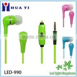Shining Crazy Selling EL Flowing LED Light Earphone with microphone as Newst Promotion Gift gfactory directly supply