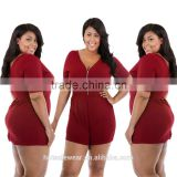 Cheap Red Plus Size Women Jumpsuit With Zip Front V-neck Jumpsuits For Fat Ladies Women MK-A6148