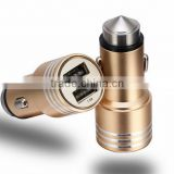 Dual USB-Port Car Charger for iphone 6 6s Stainless Steel Safety Hammer