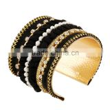 High Quality Women Europe and America Exaggerate Gold Metal Weave Bracelet Wide Bangles Fine Jewelry Cuff Bracelets
