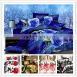 Luxury 2015 beautiful flower printed 3d duvet cover set fabrics king size plain white 100% cotton bed sheet wholesale