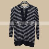 Women fashion long sleeve knit wear ful cotton black and white stripe pattern with neck string for autumn/pullover sweater