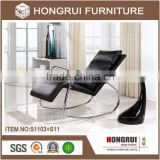 Foshan living room furniture American style Chaise/Leisure pu leather lounge/metal base Chaise