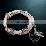 vintage antiqued silver rose leaf bird ice pink glass beads 2 layers women fashion wiring bangle bracelet jewelry 6490049