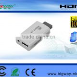 Factory W11 2 to HDMI 720P 1080P DVI HDTV Output Audio Upscaling Converter Adapter & 3.5mm for Game Supports All Wii