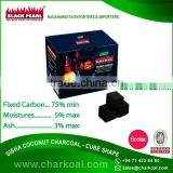 High Calorific Value with Carbon Activation Cube Shape Shisha Coconut Charcoal - 22*22*22 mm Size