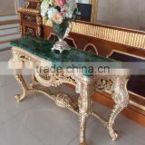 Antique European Natural Malachite Top Console Table, Fine Carved Decorative Console Table
