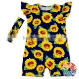 Sunflower Baby Fashion Jumpsuit Flutter Sleeve Infants Girls Jumpsuits Baby Wear Clothes Summer Short Romper Wholesale Price