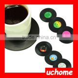 UCHOME Plastic emulational vinyl record vinyl disc CD cup coaster 6pcs a set with a box