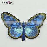 3D lifelike colorful butterfly custom embroidery textile patch for garment accessory
