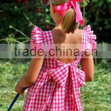 Summer baby girl dresses new style angle sleeve backless red plaid dress with girls party dresses