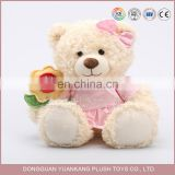 Valentines soft love teddy bears wholesale with flower