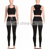 Womens Hooded Crop Bodycon Long Pants 2 Piece Outfits Sportswear