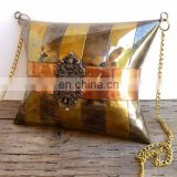 Vintage Brass and Copper Metal Cocktail Pillow Purse Ladies Handbag with Chain Strap