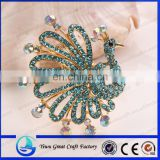 Wholesale fashion rhinestone crystal brooch pin the peacock brooch Zinc alloy blue crystal brooch