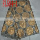 wholesale organza lace fabric(FL584-1) high quality african lace