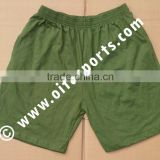 Olive Drab, Dark Navy, Heather Grey, Black: Men's Drawstring Cotton Gym Shorts With Pockets