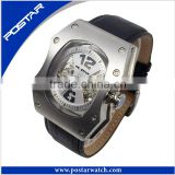 Fashion Stainless Steel Case Leather Men's Military Sport Analog Mechnical Wrist Watch