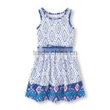 Wholesale 2014 Kids Clothes Cartoon Print Short Sleeve Girls Dress Children Summer Dress