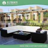 9 Piece Rattan Outdoor Garden Furniture Black Wicker Rattan Sectional Corner Sofa Set with Colorful Cusions