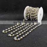 $4/meter by Trade Assurance- Fashion grey faceted crystal quartz jade beaded stone chains for necklace