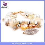 Best selling top quality fashion jewelry crystal with pearl bracelet 18k italian gold bracelet ( YWH5056-3)