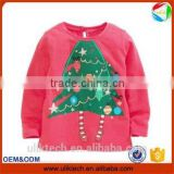christmas print long sleeve plum color christmas trees shirt enfants girls long sleeve tops and boys tops