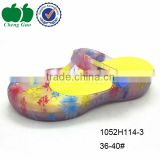Beach transparent eva jelly clogs garden pvc clogs women printed eva clogs