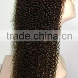 100% Indian remy kinky curl good quality glueless full lace wigs