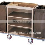 Stainless Steel and Wood Hotel Housekeeping Carts Service Maid Trolley/laundry trolley/housekeeping carts/baking canvas