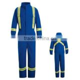 cotton blue fire retardant coveralls with reflective tape