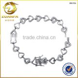 beautiful heart charm bangle bracelet cubic zirconia paved silver charms bracelet
