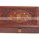 Store Indya Wooden Decorative Jewelry Trinket Box - Hand Carved with Brass Inlay