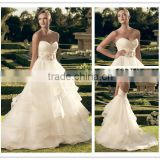 Custom Made 2016 Strapless sweetheart neckline tiered ruffled skirt wedding dress DM-003 princes style organza bridal dresses
