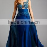 Hot Sales Blue Chiffon Beaded Evening Dresses High Neck Appliques Long Prom Gowns XP-30