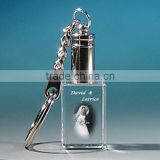 Wholesale Beautiful 3D laser image crystal keychain for wedding gift, crystal key ring