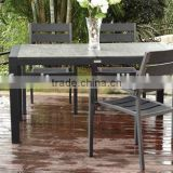 outdoor garden plastic chair and stone glass table, outdoor wicker dining set