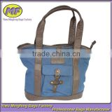 Dark Blue with Short PU Strapes Korean Fashion Canvas Shoulder Bag for Women