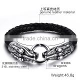 Best Gift For Valentine's Day Fashionable 316L Stainless Steel Genuine Leather Meterial Dragons Bangle Bracelets