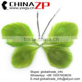 CHINAZP Bulk Sale Selected Prime Quality Dyed Lime Green Trimmed Peacock Feathers Eyes for Decoration