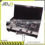 Camping double ignition burner barbecue oven gas Foldable stainless steel portable gas stove