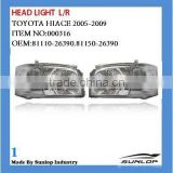 toyota hiace car body part Hiace Head light #000316 Hiace headlamp headlights for hiace 2005-2009,KDH 200,commuter,quantum