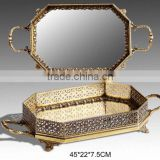 Retro Mirror Design Brass Hexagon Tray, Hand Engraved Bronze Serving Tea Tray With Handle, Luxury Home Decorative Tableware