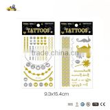 Wholesale price fashion Custom tattoo ,Body Temporary Gold Silver tattoo ,best sale Metallic Flash Tattoos,