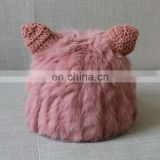 Winter women lovely rabbit fur knitted weaven hats with ears wholesale