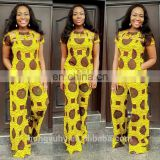 2016 new design fashion african traditional jumpsuit 100% cotton super wax dress wholesales