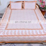Indian Bed Sheets Yellow Paisley Art Cotton Bed Cover Bohemian Jaipur Hand Block Printed Bedspread