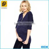 New unique style purple half sleeve zipper front breastfeeding nursing stretch jersey maternity tops