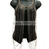Goldtone with Clear Iced Out Vest Style with Stones Body Chain