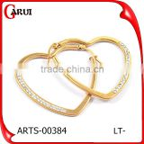 China supplier stainless steel heart shape gold earrings